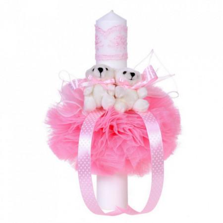 Set trusou botez, cutie trusou si lumanare, Ursulet, dantela roz, Denikos® 467