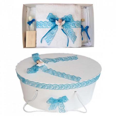 Set trusou botez si cutie trusou, Ingeras, dantela turcoaz, Denikos® 455