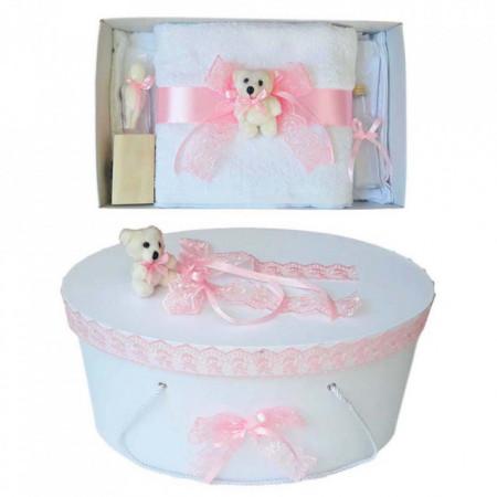 Set trusou botez si cutie trusou, Ursulet, dantela roz, Denikos® 466