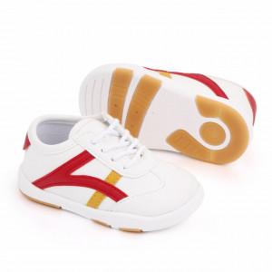 Adidasi albi cu dungi rosii si galben mustar