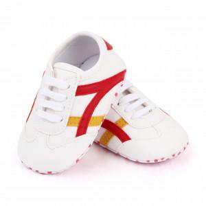 Adidasi albi cu insertie rosie si galben mustar