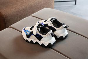 Adidasi albi cu negru si albastru cameleon