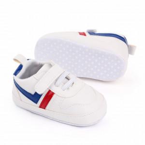 Adidasi albi cu sireturi din elastic
