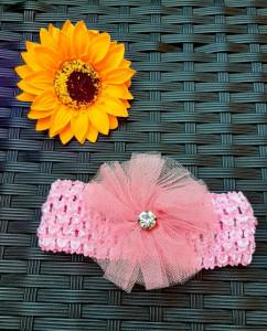 Bentita roz pentru fetite - Floare cu stras