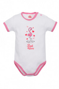 Body alb cu flamingo pentru bebelusi - Colectia Flamingo