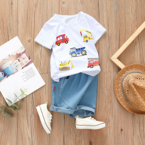 Costum bebelusi cu tricou alb - Masinute