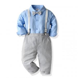 Costum elegant pentru baietei cu pantaloni si camasa bleu