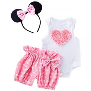 Costumas pentru fetite cu pantalonasi bufanti - Inima roz
