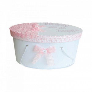 Cutie trusou botez personalizata, decor dantela roz, Denikos® 216