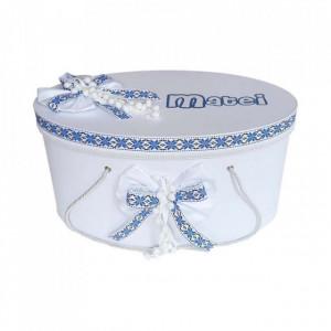 Cutie trusou botez personalizata, decor traditional albastru, Denikos® 231