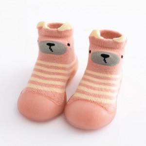 Mocasini cu talpa antiderapanta - Pink teddy
