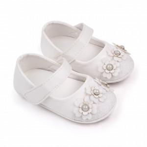 Pantofiori albi cu sclipici si floricele