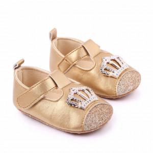 Pantofiori aurii cu sclipici si coronita