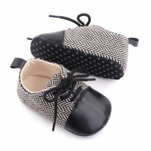 Pantofiori eleganti negru cu alb in zig zag