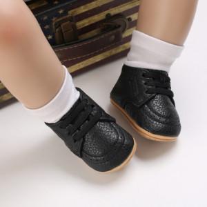 Pantofiori negri cu sireturi din elastic pentru baietei