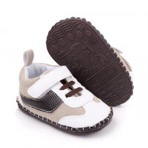 Pantofiori pentru baietei crem cu maro