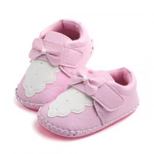 Pantofiori roz cu fundita roz