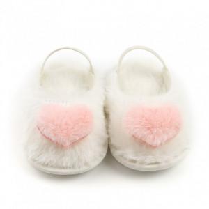 Papucei din blanita - Heart Puf