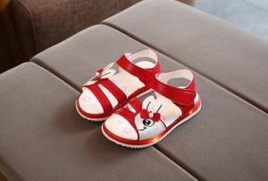 Sandale rosii pentru fetite - Iepuras