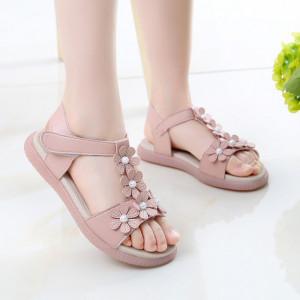 Sandale roz pudra cu floricele cu perlute