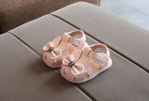 Sandale roz pudra cu urechiuse si fundita