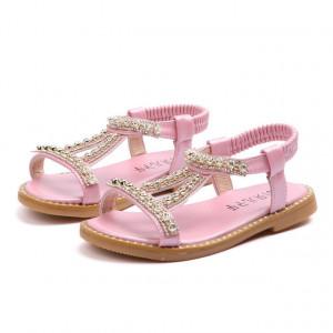 Sandale roz sidefat cu strasuri