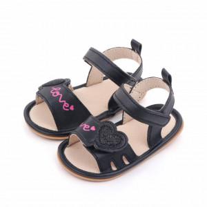Sandalute negre pentru fetite - Love