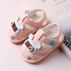 Sandalute roz cu piuitoare - Blue mouse