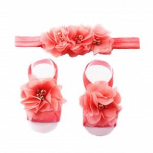 Set bentita cu floricele si accesoriu asortat pentru piciorus