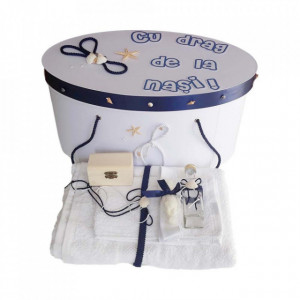 Set cutie trusou personalizata si trusou botez, decor marin, Denikos® 225