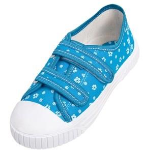 Tenisi pentru fetite - Bleu cu floricele albe