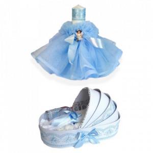 Trusou botez in landou si lumanare cu ingeras, decor bleu Denikos® 166