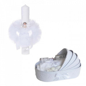 Trusou botez in landou si lumanare glob cu ingeras, decor alb Denikos® 163