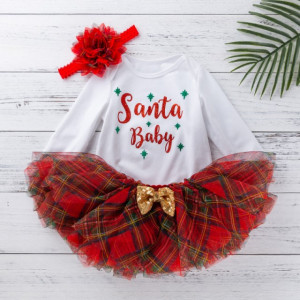 Set body cu fustita tutu - Santa Baby