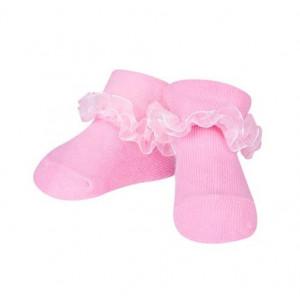 Sosetele fetite in nuante de roz cu danteluta din tulle