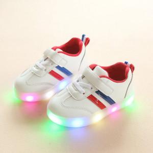 Adidasi albi cu dunga rosie si albastra si cu luminite