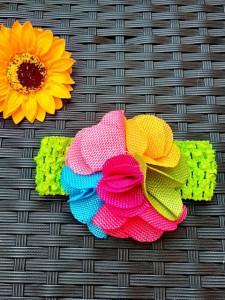 Bentita verde pentru fetite - Petale multicolore