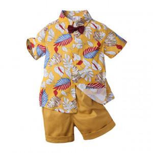 Costum galben mustar cu frunzulite pentru bebelusi