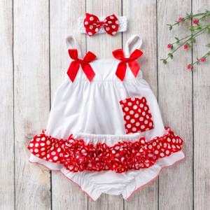 Costumas pentru fetite alb cu volanase rosii