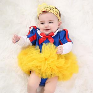 Costumas pentru fetite cu fustita galbena