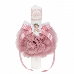 Lumanare botez glob cu ingeras, decor roz pudra, Denikos® 518