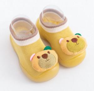 Mocasini galben mustar cu talpa antiderapanta - Sweet teddy