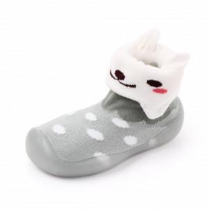 Mocasini gri cu talpa de silicon antiderapanta - Kitty