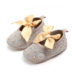 Pantofiori fetite cu perlute aurii