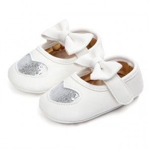 Pantofiori fetite - Inimioara sclipitoare argintie