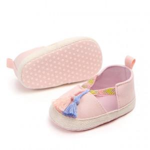 Pantofiori fetite roz cu ciucurei