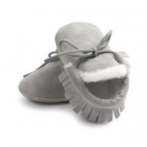 Pantofiori gri imblaniti cu franjuri