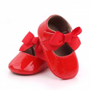Pantofiori rosii cu fundita aplicata pentru fetite