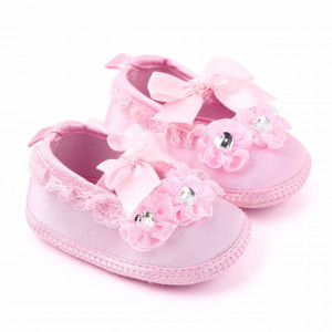Pantofiori roz botez pentru fetite