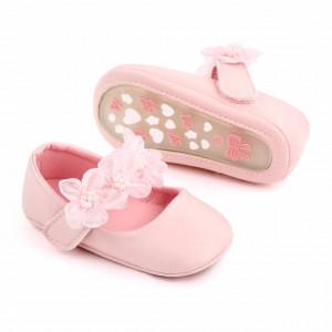 Pantofiori roz cu floricele din tulle
